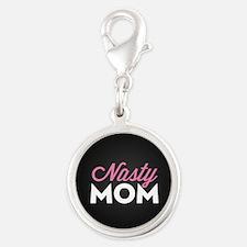 Nasty Mom Silver Round Charm
