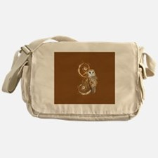 Barn Owl Brown Swirls Messenger Bag