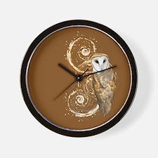 Barn Owl Brown Swirls Wall Clock