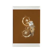 Barn Owl Brown Swirls Rectangle Magnet