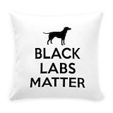 Black labs matter Burlap Pillows
