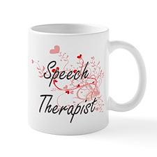 Speech Therapist Artistic Job Design with Hea Mugs