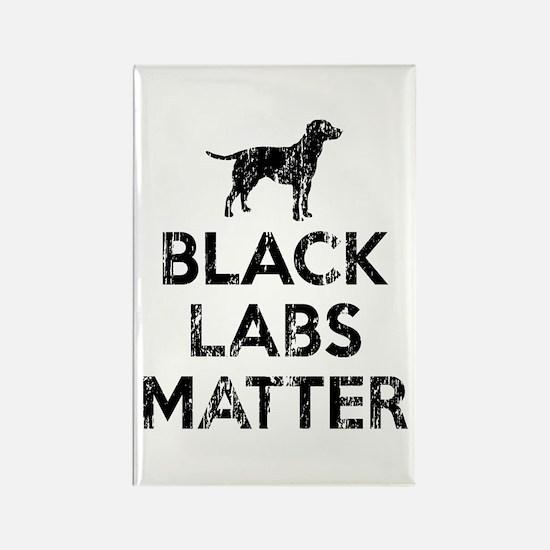 Vintage Black Labs Matter Rectangle Magnet