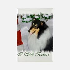 Tri-Color Collie Christmas Rectangle Magnet (100 p