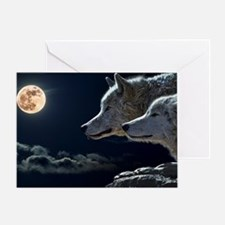 Cute Wolf and moon Greeting Card