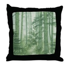 Green Misty Forest Throw Pillow