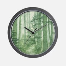 Green Misty Forest Wall Clock