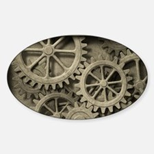 Steampunk Cogwheels Sticker (Oval)