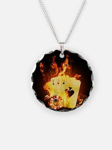 Burning Poker Cards . Necklace