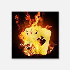 "Burning Poker Cards . Square Sticker 3"" x 3"""