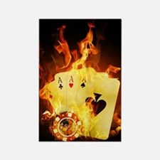 Burning Poker Cards . Rectangle Magnet