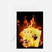 Burning Poker Cards . Greeting Card
