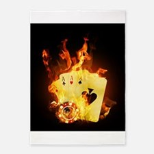 Burning Poker Cards . 5'x7'Area Rug