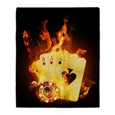 Burning Poker Cards . Throw Blanket