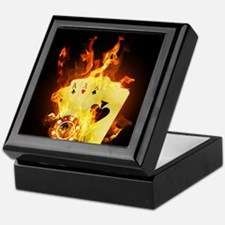 Burning Poker Cards . Keepsake Box