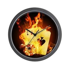 Burning Poker Cards . Wall Clock