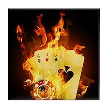 Burning Poker Cards . Tile Coaster