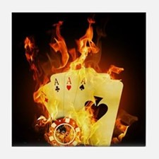 Burning Poker Cards . Tile Coaster