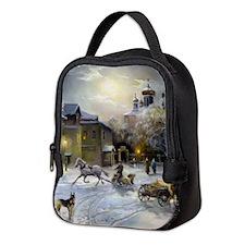 Russian Winter Painting Neoprene Lunch Bag