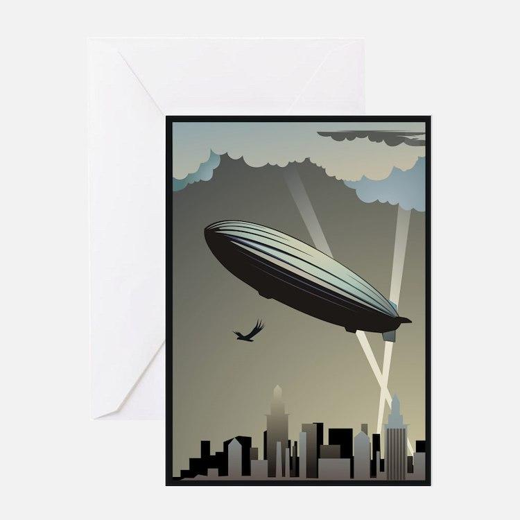 Zeppelin Skyline Greeting Card