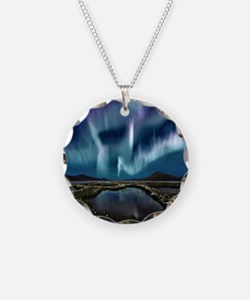 Northern Lights Necklace Circle Charm