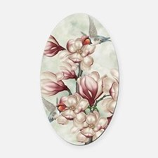 Magnolia Colibries Oval Car Magnet