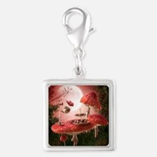 Surreal Tea Party Silver Square Charm