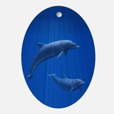 Dolphin Couple Oval Ornament