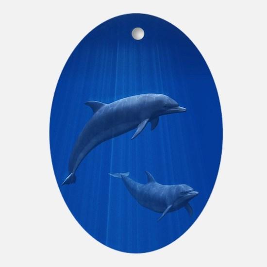 Dolphin Couple Oval Ornament