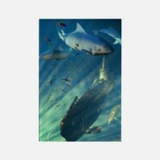 Submarine and Sharks Rectangle Magnet