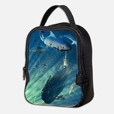 Submarine and Sharks Neoprene Lunch Bag