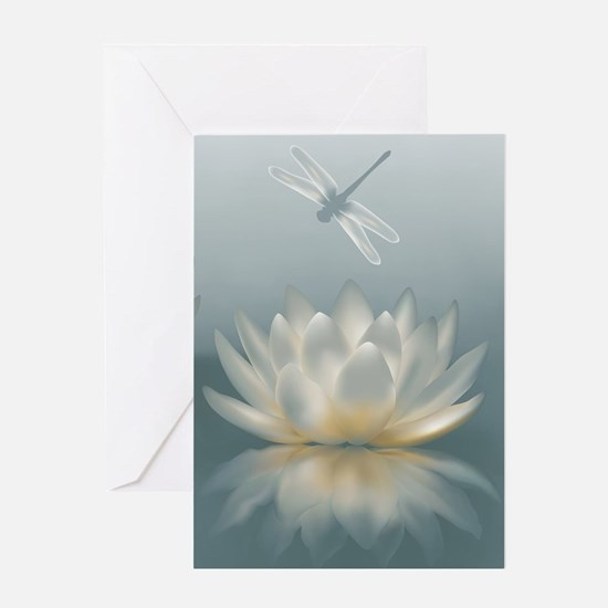 Lotus and Dragonfly Greeting Card