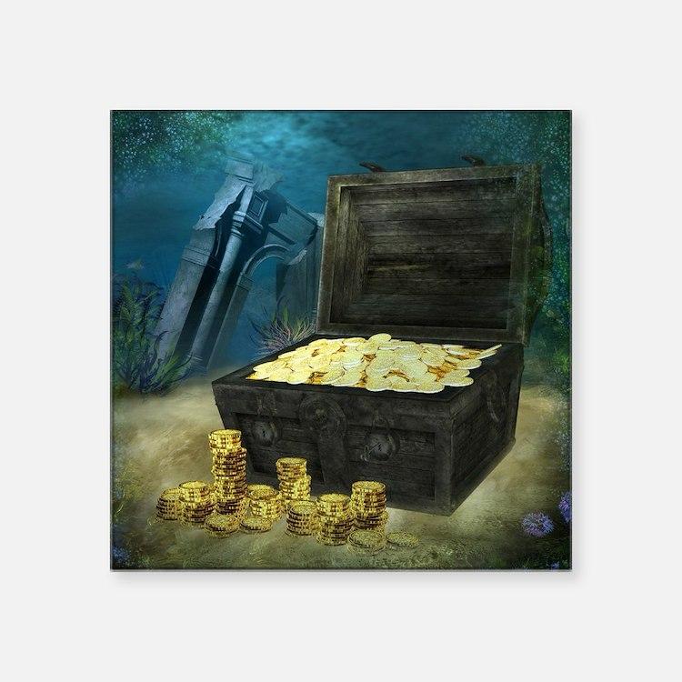 """Treasure Chest Square Sticker 3"""" x 3"""""""