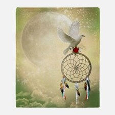 Dove Dreamcatcher Throw Blanket