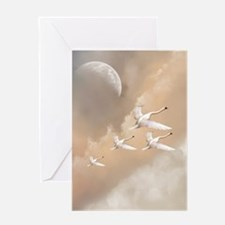 Flying Swans Greeting Card