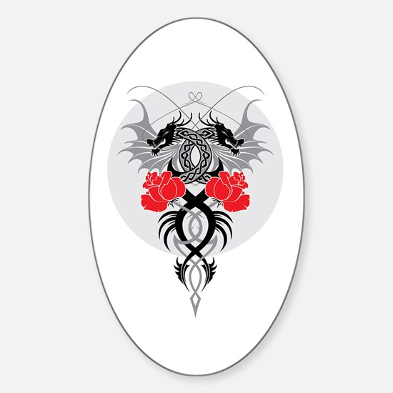 Dragons and Roses Sticker (Oval)