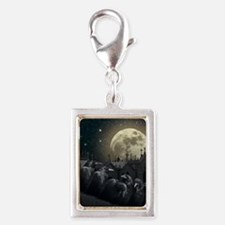 Gothic Crows Silver Portrait Charm