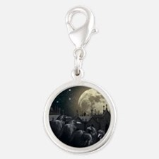 Gothic Crows Silver Round Charm