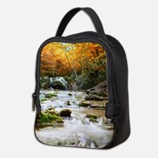 Autumn Forest Waterfall Neoprene Lunch Bag