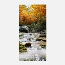 Autumn Forest Waterfall Beach Towel