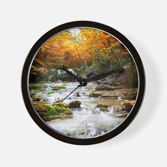 Autumn Forest Waterfall Wall Clock