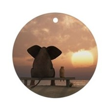 Elephant and Dog Friends Round Ornament