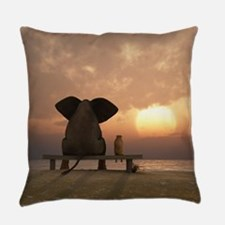 Elephant and Dog Friends Everyday Pillow