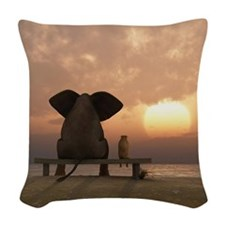 Elephant and Dog Friends Woven Throw Pillow