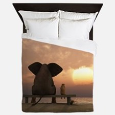 Elephant and Dog Friends Queen Duvet