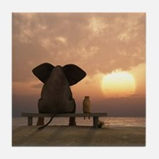 Elephant and Dog Friends Tile Coaster