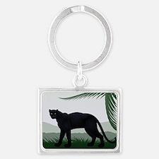 Black Jungle Panther Landscape Keychain
