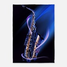 Blue Saxophone 5'x7'Area Rug
