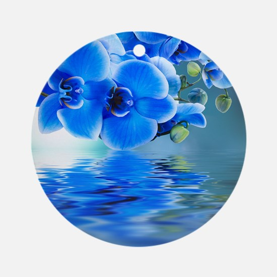 Blue Orchids Round Ornament
