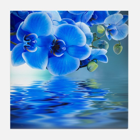 Blue Orchids Tile Coaster